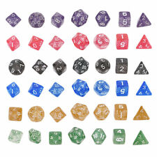 Shimmering Serial Bright Color 7 Pcs Set Creative Multi-Faceted Acrylic Dice  F5