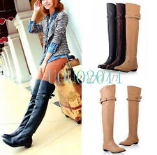 Vogue Women's Sexy Long Over The Knee High Boots Flats Warm Boots Shoes All Size