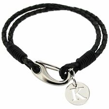 Mens Ladies Personalised Leather Bracelet & 925 Sterling Silver Letter Pendant