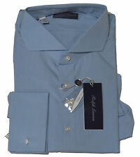 $450 Ralph Lauren Purple Label Italy Mens Solid Blue French Keaton Dress Shirt
