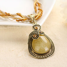 New Arrival Vintage Stone Big Pendant Women Dress Sweater Bib Chain Necklace