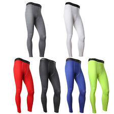 Mens Sports Gym Yoga Fitted Long Pants Compression Base Layers Trousers Leggings