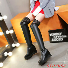Women High Wedge Heel Lace Trim Over Knee High Boots Silm Leg Boots Shoes Size