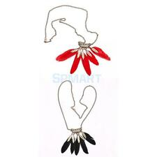Fashion Women Hollow Metal Leaves Feather Pendant Chain Necklace Jewelry Gift