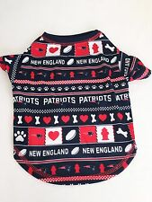 New England Patriots Logo Patterned Dog Shirt NFL Football Official Pet Product