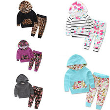 New Outfits Sets Baby Toddler Sweater Boys Girls Long Sleeve Hoodie+Long Pants