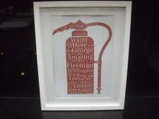 luxury FIREMAN WORD ART picture with frame AND MOUNT