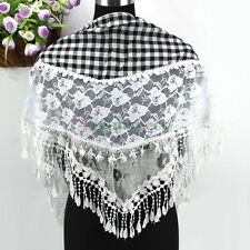 Women Vintage Floral Lace Stitching Cotton Gauze Plaids Tassel Triangle Scarf
