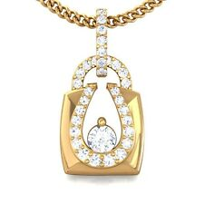 0.27ct Fine IJ SI Diamond Beautiful Fashion Lock Pendant Women Solid 18K Gold