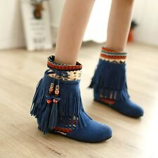 Plus Size Vintage Faux Suede Tassel Womens Pull On Hidden Wedge Heel Ankle Boots