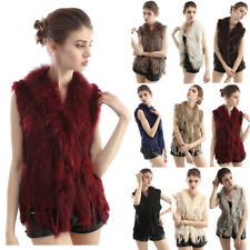 Women Real Rabbit Fur Vest Raccoon Fur Collar Knitted Gilet Short New 9 Colors