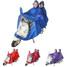 Unisex Hooded Motorcycle Scooter 2-Person Rain Cover Waterproof Raincoat Cape