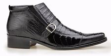 Belvedere Mens Boot Matteo Genuine Ostrich / Genuine Crocodile Skin Black 1903