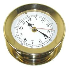 "Victory RM616 5"" Polished Cast Brass Ship's Clock 6-5/16"" x 2-3/8"" Case 135-581"