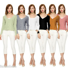 Womens Cardigan Sweater Long Sleeve Knitted Candy Color Outwear Jacket Coat Tops