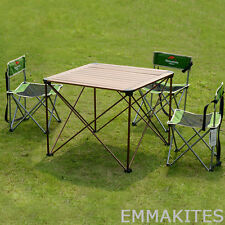 Aluminum Folding Dining Table with 4Pcs Chairs Set for Camping Fishing Yard BBQ