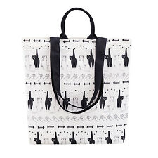 Women's Cartoon Cat Plaid Canvas Convertible Shoulder Tote Bag Large Size