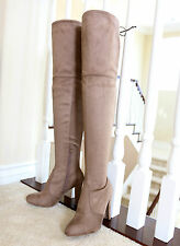Stretch Micro Suede  3.75 in. Covered Thick Heel  Over The Knee High Boots Taupe