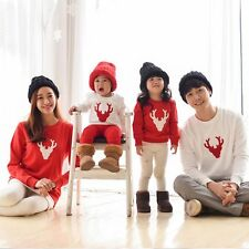 Couple Hoodie Christmas Deer Long Sleeve Matching Pullover Shirts Family Clothes