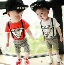 2PCS Baby Toddler Boy Outfit Short Sleeve T-Shirt+ Straps shorts clothes suits