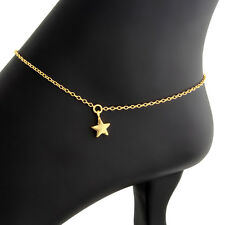 Cute Tiny Star and Circle Disk Pendant Anklet #Sterling Silver #Azaggi A0623