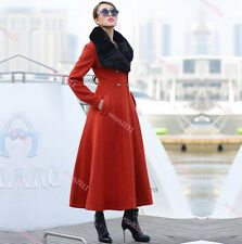 Women Wool Blend Slim Fit Rabbit Fur Collar Full Length Coat Warm Outwear Jacket