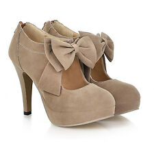 idomcats Bow Womens Ladies Suede shoes Mary Jane Platform high heel Shoes 11-0