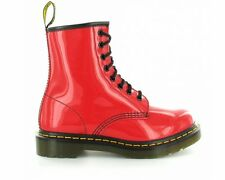 Womens Dr Martens 1460 Patent Lamper 8 Eyelet Boots Red