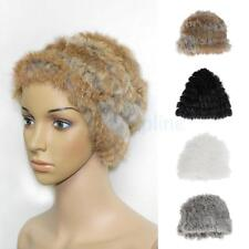 Womens Fur Cony Hair Knitted Crochet Winter Warm Beret Cap Beanie Hat for Ladies