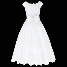 Cap Sleeve Bowknot Flower Girl Princess Wedding Party Ball Gown Prom White Dress