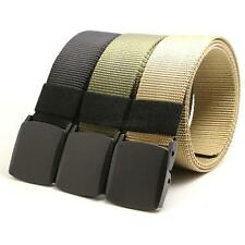 Chic Canvas Long Weave Adjustable Mens Slider Buckle Military Style Web Belt