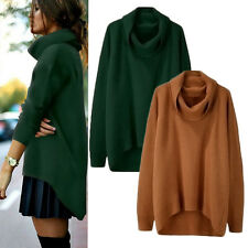 New Womens Winter Warm Long Sleeve Pullover Sweater Ladies High Neck Jumper Tops
