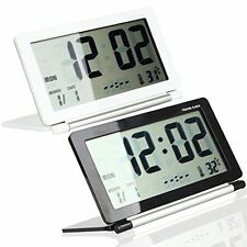 US Folding Silent LCD Digital Large Screen Travel Desk Electronic Alarm Clock
