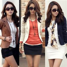 Women Long Sleeve Solid Slim Casual Suit Jacket Blazer Coat One Button Outwear