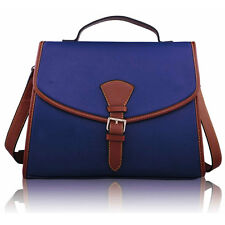 New Ladies Women's Designer Style Navy Handbag Flap over Satchel Shoulder Bag