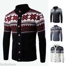 Fashion Mens Slim Fit O Neck Knitwear Pullover Cardigan Sweater Jacket Coat Tops