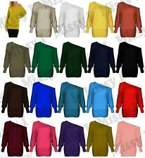 Womens Celeb Off Shoulder Batwing Slash Neck Top Long Sleeve Slouch Top  8-26