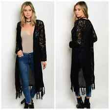 Long Knit Cardigan Sweater Fringe New Black Duster Open Front