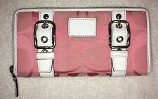 COACH PINK WHITE JACQUARD LEATHER ZIPPERED WALLET EUC