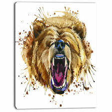 Design Art 'Growling Grizzly Bear Watercolor' Painting Print on Wrapped Canvas
