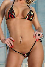 Flames Sexy Tie Side Thong Bikini 2pc Mini Micro Bottom Small Top Exotic Extreme