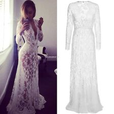 Women Sexy Deep V Neck Long Sleeve Elastic High Waist Sheer Lace Maxi Long Dress