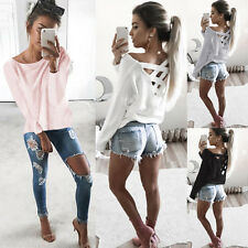 Winter Womens Long Sleeve T-shirts Autumn Blouse Slim Fit Hollow Out Shirt New K