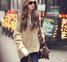 New Women Long Batwing Loose Knit Sweater Coat Oversized Pullover Casual Tops