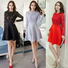 Women Embroidery Lace Floral Long Sleeve Mini Dress Party Cocktail Evening Dress
