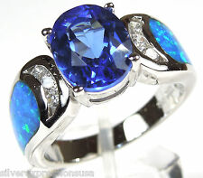 2.5 Carat Tanzanite & Blue Fire Opal Inlay 925 Sterling Silver Ring Size 6,7,8,9