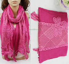 Fashion Womens Floral Hollow Knit Wool Cotton Solid Long Scarf Ladies Shawl Wrap