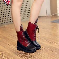 Fashion womens block Shoes Mid-Calf boots Size New Women's PU leather Knight Sz