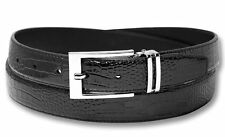 Biagio Croc Embossed BLACK Men's Bonded Leather Belt Silver-Tone Buckle sz 42