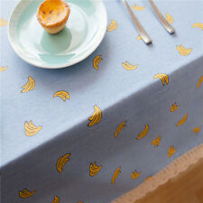 Elegant Blue Yellow Banana Dinning Coffee Table Cotton Linen Cloth Cover T